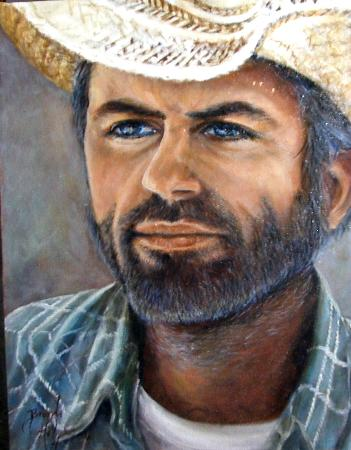 oil portrait painting dusty & trail weary