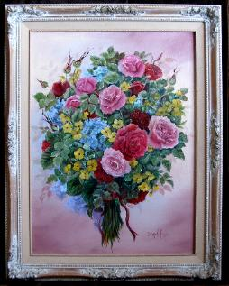 Colored Roses Oil Painting
