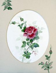 Watercolor Red Rose Painting
