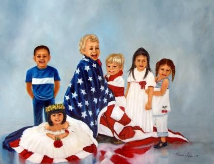 children Painting with American Flag
