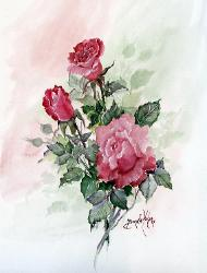 Red Roses in Watercolor