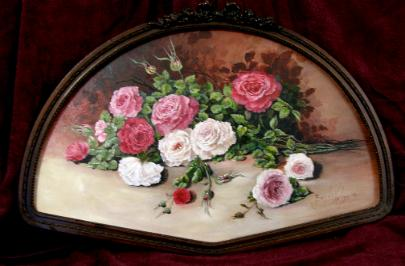 Oil Painting Roses Abundant Blooms